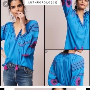 Anthropologie Maeve peasant embroidered top